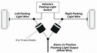 how to guides diode applications the diagram below shows how to use the positive flashing light output of an alarm or keyless entry to flash both the left and right flashing light